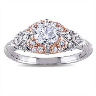 Miadora Signature Collection 14k 2-tone White and Rose Gold 1ct TDW Diamond Vintage Engagement Ring (G-H, I1-I2)