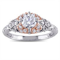 Miadora Signature Collection 14k 2-tone White and Rose Gold 1ct TDW Diamond Vintage Engagement Ring