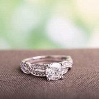 Miadora Signature Collection 14k White Gold 1 1/4ct TDW Diamond Braided Engagement Ring