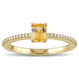 Miadora 14k Yellow Gold Octagon-cut Yellow Sapphire and 1/10ct TDW Diamond Solitaire Ring (G-H, SI1-SI2)