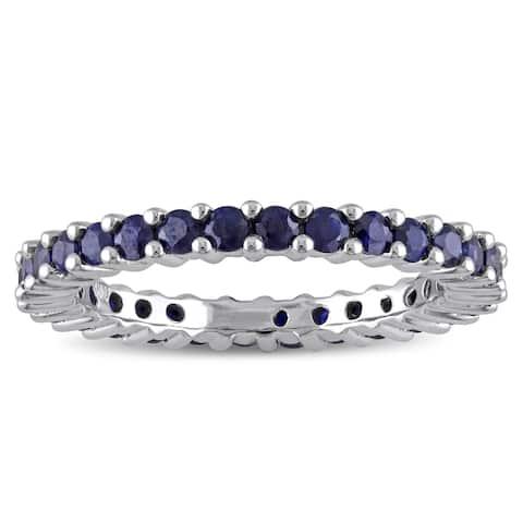 Miadora 10k White Gold Sapphire Eternity Ring