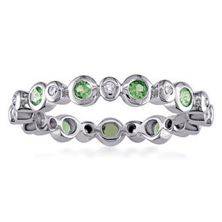 Miadora Signature Collection 18k White Gold Tzavorite and 1/10ct TDW Diamond Eternity Ring (G-H, SI1-SI2)