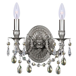 Crystorama Gramercy Collection 2-light Pewter/Silver Shade Crystal Wall Sconce