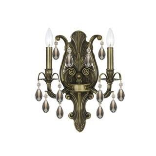 Crystorama Dawson Collection 2-light Antique Brass/Golden Teak Swarovski Crystal Wall Sconce
