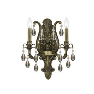 Crystorama Dawson Collection 2-light Antique Brass/Golden Teak Crystal Wall Sconce
