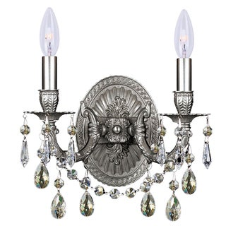 Crystorama Gramercy Collection 2-light Pewter/Silver Shade Swarovski Crystal Wall Sconce