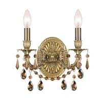Crystorama Gramercy Collection 2-light Aged Brass/Golden Teak Crystal Wall Sconce