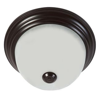 Oil Rubbed Bronze Flush Mount Light Fixture with Soft White Glass Light