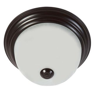 Oil Rubbed Bronze Finish Soft White Glass Flush Mount Ceiling Light Fixture