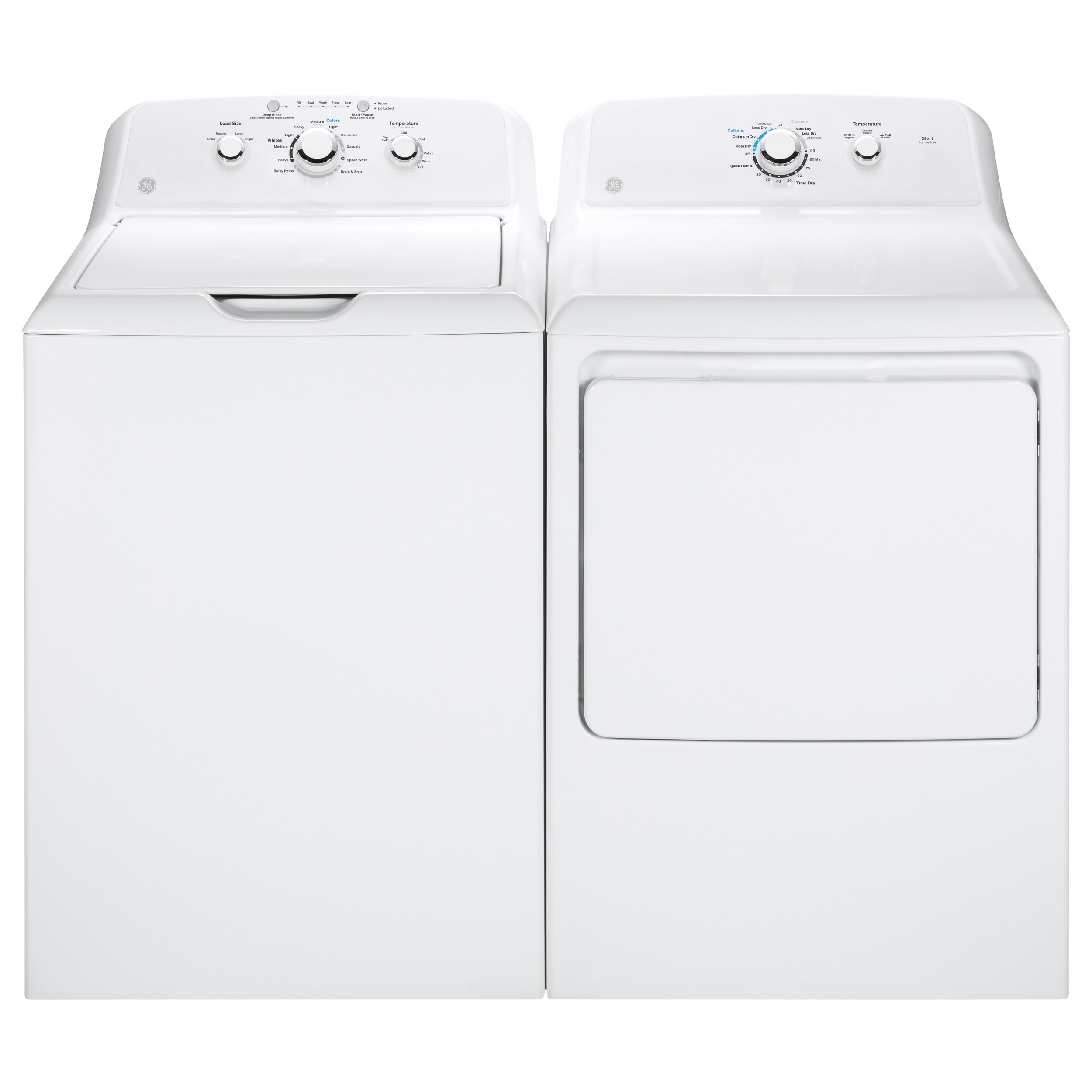GE Top-load Washer and Electric Dryer Pair (White) (Stain...