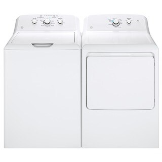 GE White Stainless Steel Top-load Washer and Gas Dryer Pair