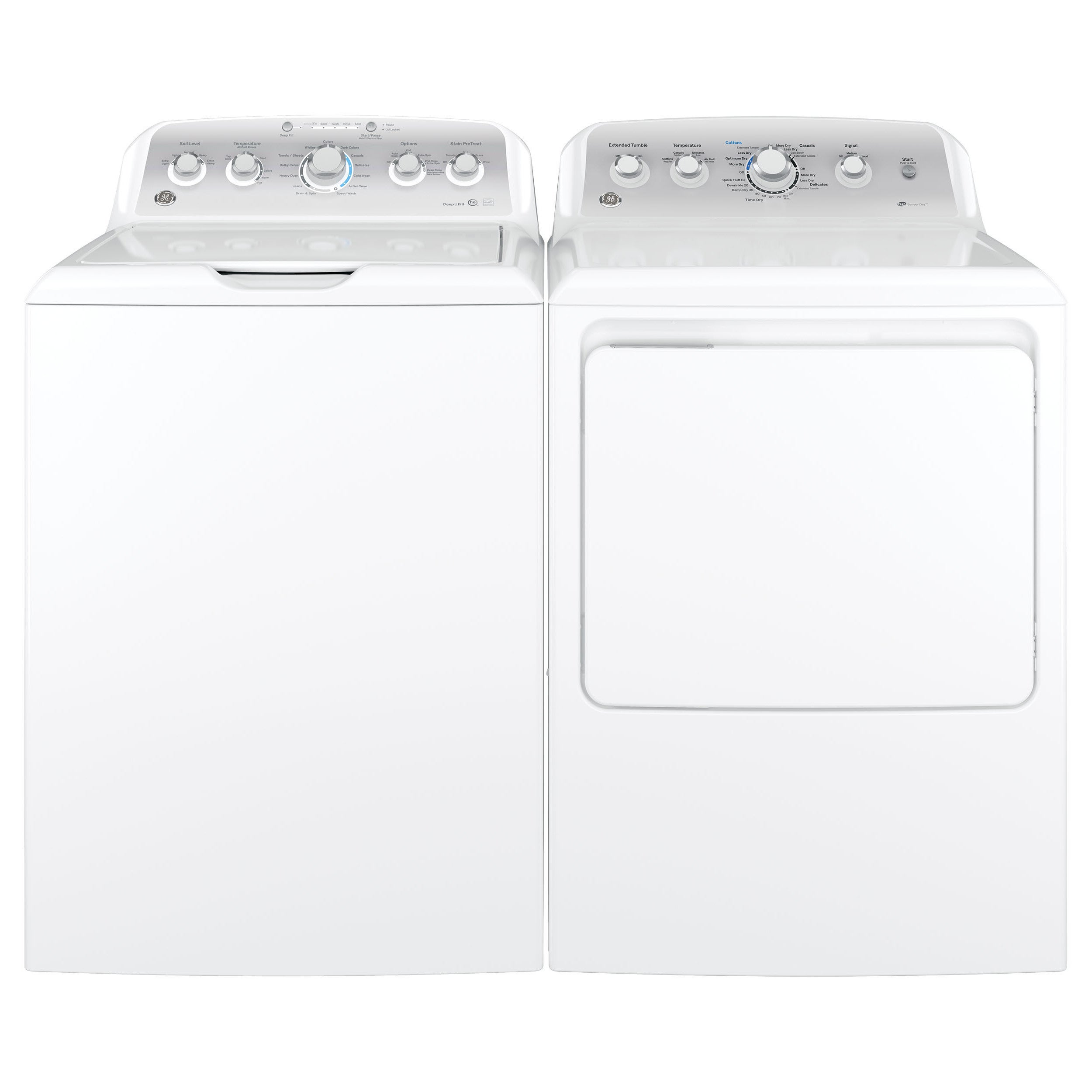 GE Top-load Washer and Long Vent Gas Dryer Pair (White) (...
