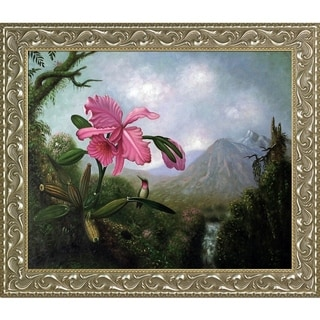 Martin Heade  'Orchid and Hummingbird' Hand Painted Oil Reproduction