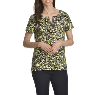 Caribbean Joe Women's Paisley Batik Print Short Sleeve Tee