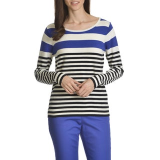 Caribbean Joe Women's Soft Light Weight Stripe Knit Top