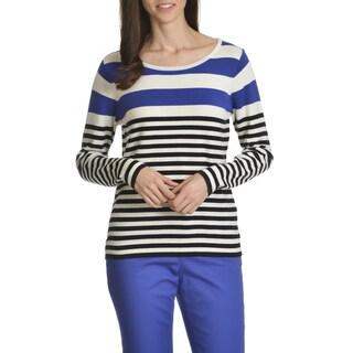 Caribbean Joe Women's Soft Light Weight Stripe Knit Top