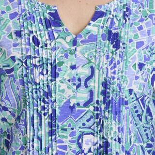 Caribbean Joe Women's Mosaic Mix Print Pintuck Top