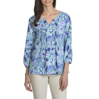 Caribbean Joe Women's Mosaic Mix Print Pintuck Top