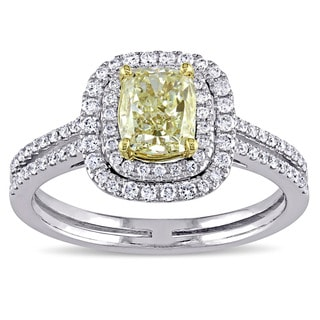 Miadora Signature Collection 14k 2-tone White and Yellow Gold 1 1/2ct TDW Cushion-cut Diamond Engagement Ring (D-E, SI1-SI2)
