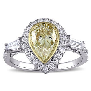 Miadora Signature Collection 14k 2-tone White and Yellow Gold 2ct TDW Pear-cut Yellow Diamond Engagement Ring (G-H, SI1-SI2)