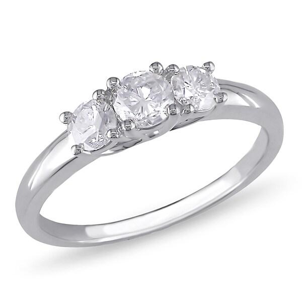 Miadora Signature Collection 10k White Gold 3/4ct TDW Diamond 3-Stone Engagement Ring