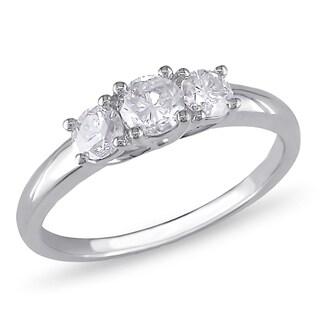 Miadora Signature Collection 10k White Gold 3/4ct TDW Diamond 3-Stone Engagement Ring (G-H, I2-I3)