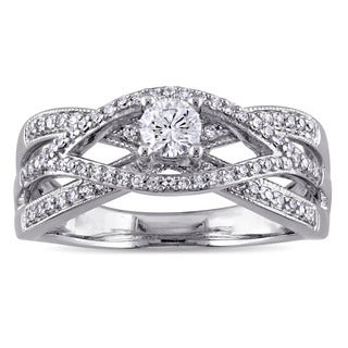 Miadora 10k White Gold 1/2ct TDW Diamond Criss-Cross Engagement Ring