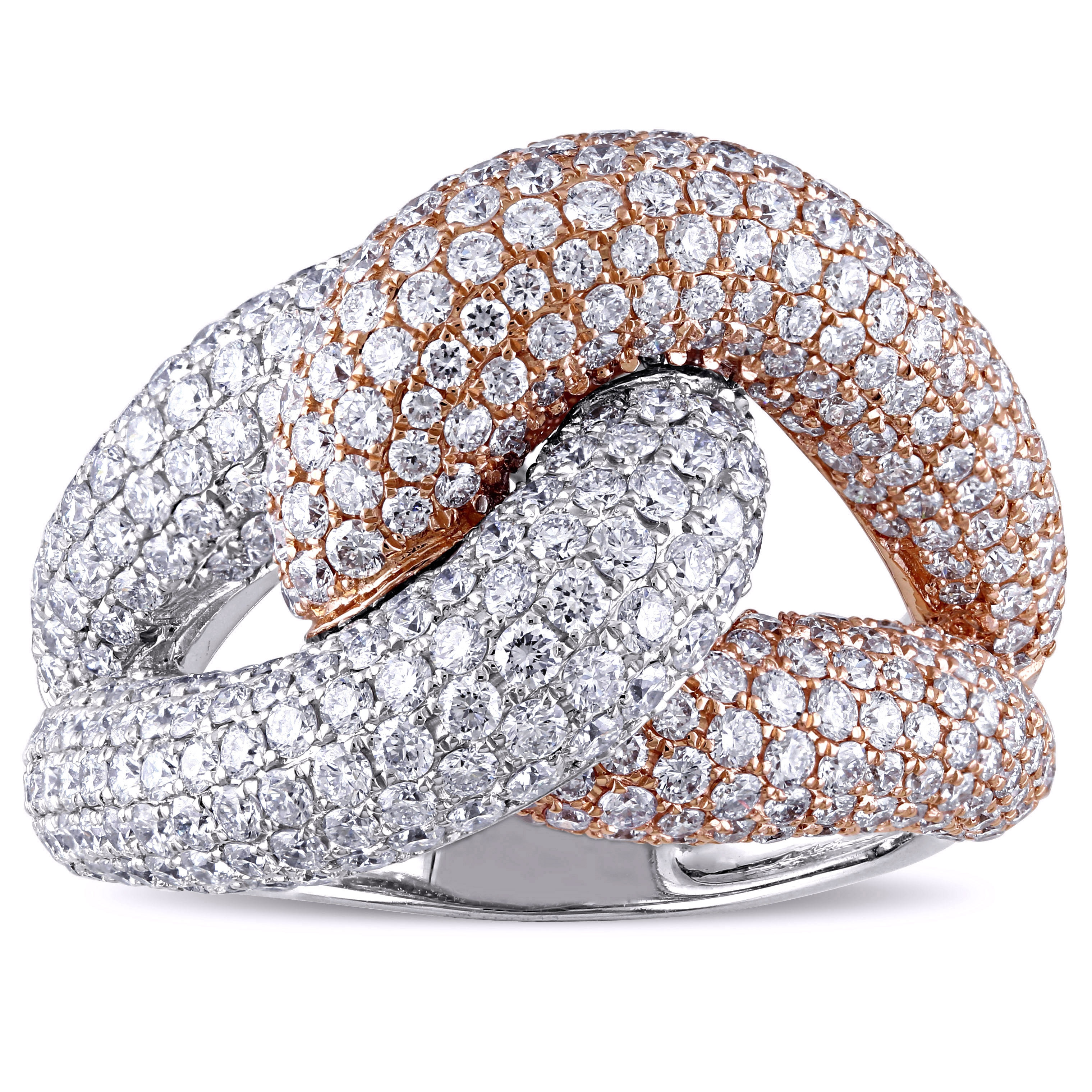 Miadora Signature Collection 18k 2 Tone White And Rose Gold 3 4 5ct Tdw Diamond Knot Ring Overstock 12343132