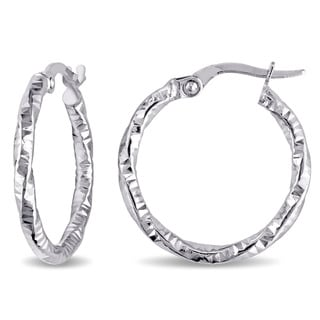Miadora 10k White Gold Twisted Hoop Earrings
