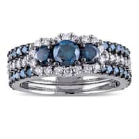 Miadora Signature Collection 10k White Gold 2ct TDW Blue and White Diamond 3-stone Bridal Ring Set