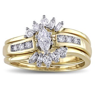 Miadora 14k 2-tone Yellow and White Gold 2/5ct TDW Diamond Flower Bridal Ring Set (H-I, I1-I2)