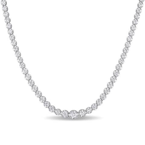Miadora Signature Collection 18k White Gold 11ct TDW Diamond Tennis Necklace
