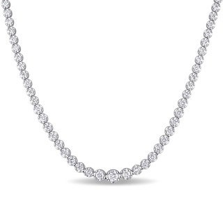 Miadora Signature Collection 18k White Gold 11ct TDW Diamond Tennis Necklace