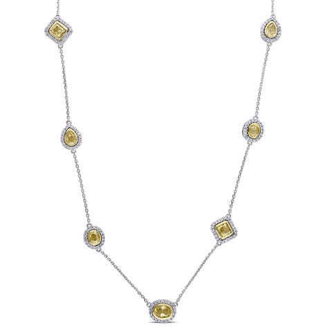 Miadora Signature Collection 14k 2-Tone White and Yellow Gold 3ct TDW Yellow and White Diamond Station Necklace (G-H, SI1-SI2)
