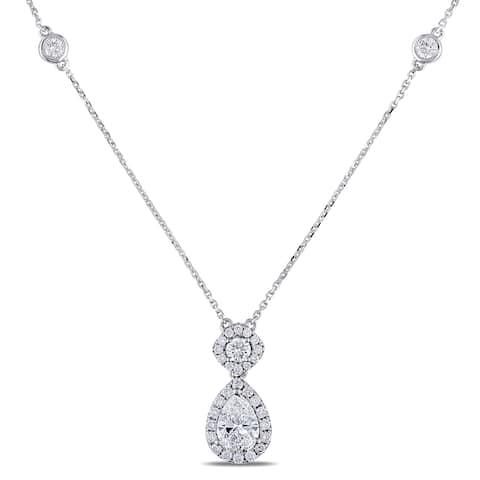 Miadora Signature Collection 14k White Gold 2ct TDW Pear and Round-Cut Diamond 2-Stone Halo Necklace (D-E, VS1-VS2)