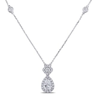 Miadora Signature Collection 14k White Gold 2ct TDW Pear and Round-Cut Diamond 2-Stone Halo Necklace (D-E, VS1-VS2)