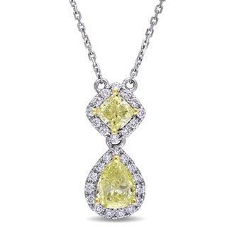 Miadora Signature Collection 14k 2-tone White and Yellow Gold 2ct TDW Pear and Cushion-cut Yellow Diamond Necklace (G-H,SI1-SI2)
