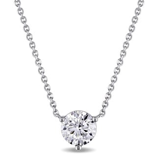 Miadora Signature Collection 14k White Gold 1ct TDW Certified Solitaire Necklace (F, SI2-SI3)(GIA)