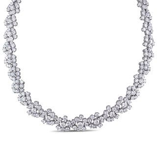 Miadora Signature Collection 18k White Gold 53 4/5ct TDW Diamond Flower Cluster Necklace|https://ak1.ostkcdn.com/images/products/12343156/P19172574.jpg?impolicy=medium
