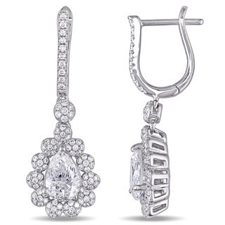 Miadora Signature Collection 14k White Gold 2-1/6ct TDW Pear-Cut Center Diamond Teardrop Halo Earrings (G-H, SI1-SI2)