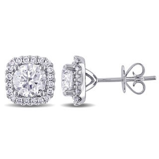 Miadora Signature Collection 14k White Gold 2 1/10ct TDW Diamond Halo Earrings (I-J, I2-I3)