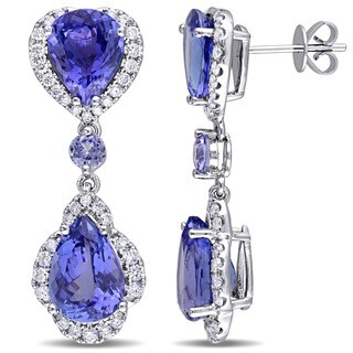 Miadora Signature Collection 14k White Gold Pear-Cut Tanzanite and 1ct TDW Diamond Teardrop Dangle Earrings (G-H, SI1-SI2)