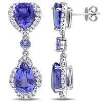 Miadora Signature Collection 14k White Gold Pear-Cut Tanzanite and 1ct TDW Diamond Teardrop Dangle Earrings (G-H, SI1-SI2)
