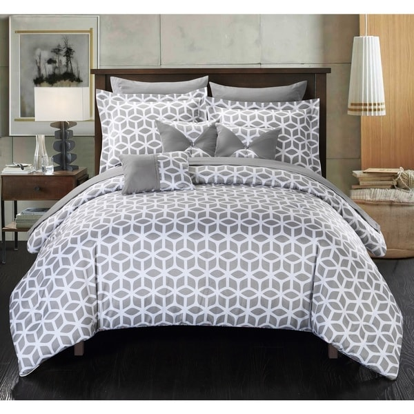 Chic Home Ritchelle Grey 10-Piece Bed in a Bag Comforter with Sheet Set