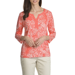 Caribbean Joe Women's Floral Batik Print 3/4 Sleeve Top