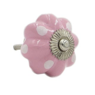 Solid Pink with White Dots Knob Pulls (Pack of 6)