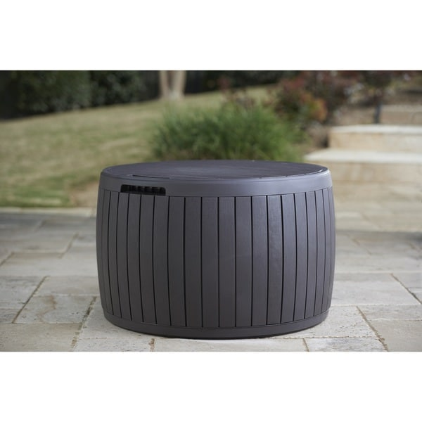 Circa Natural Wood Style Round Outdoor Storage Bench Coffee Table Deck Box Free Shipping Today 19172618