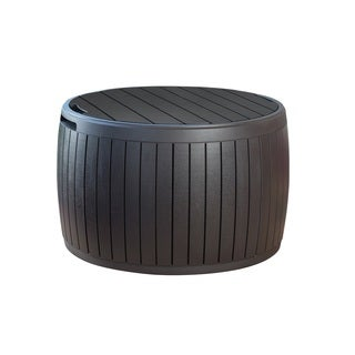 Keter Circa Brown Outdoor Round Storage Ottoman Deck Box