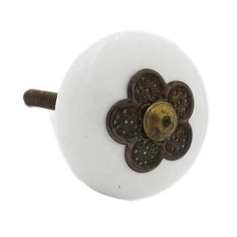 Myosotis White Ceramic Knob With Metal Flower Accent (Pack of 6)