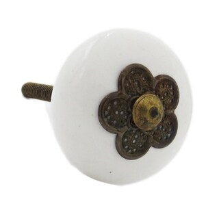 Myosotis White Ceramic Knob With Metal Flower Accent (Pack of 6)